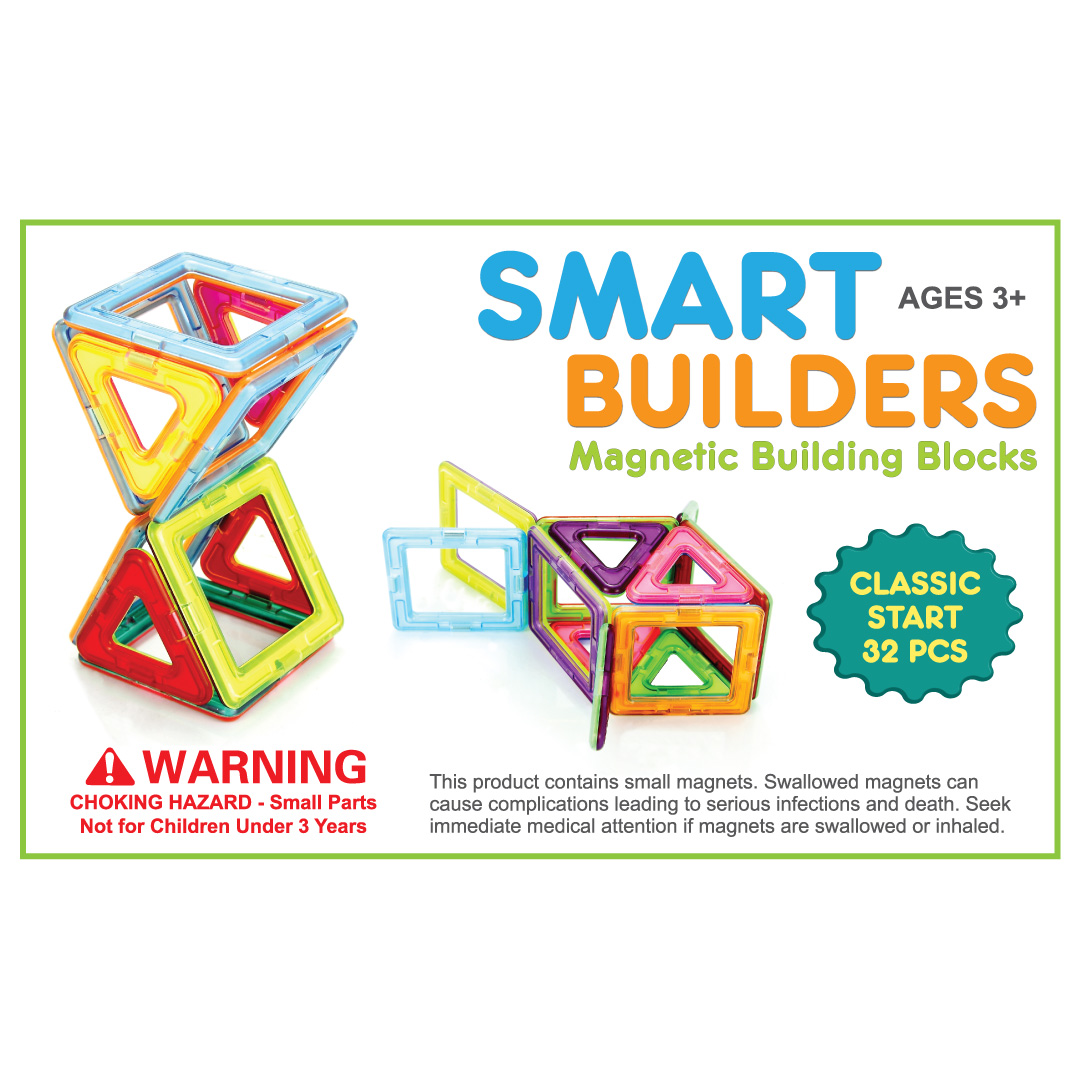 All Magnetic Building Blocks Construction Children Toy 16 Squares 16 Triangles